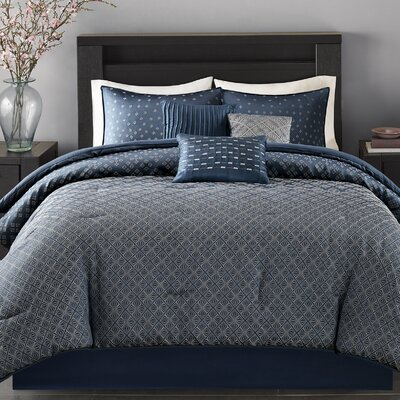 6 Piece Duvet Cover Set Size: King/California King, Color: Navy