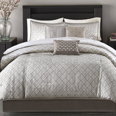 6 Piece Duvet Cover Set Size: Full/Queen, Color: Silver