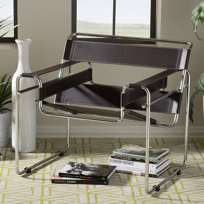 Reams Bonded Leather Armchair Upholstery: Brown