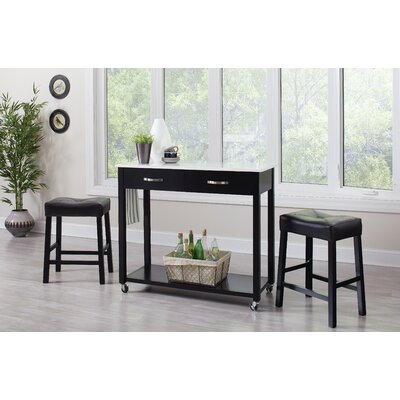 Danae 3 Piece Dining Set Finish: Black