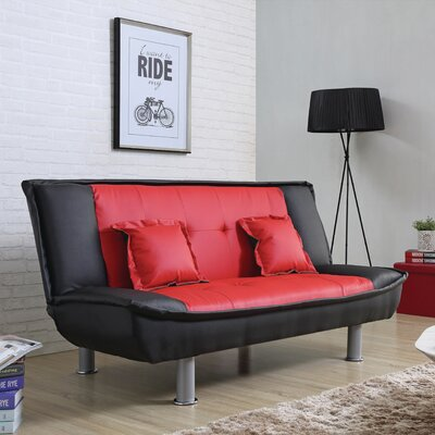Lalani Modern Convertible Sofa Upholstery: Red / Black