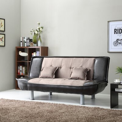 Lalani Modern Convertible Sofa Upholstery: Dark Brown Two Tone