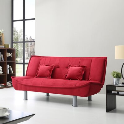Hertford Convertible Sofa Upholstery: Red Micro Suede