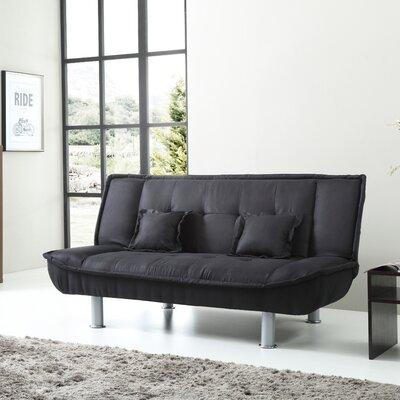 Hertford Convertible Sofa Upholstery: Black Suede