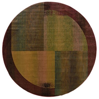 Albro Green/Red Area Rug Rug Size: Round 6