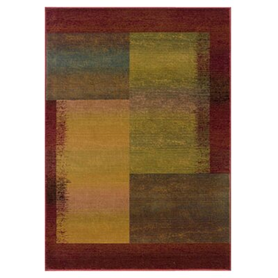 Albro Green/Red Area Rug Rug Size: 67 x 91