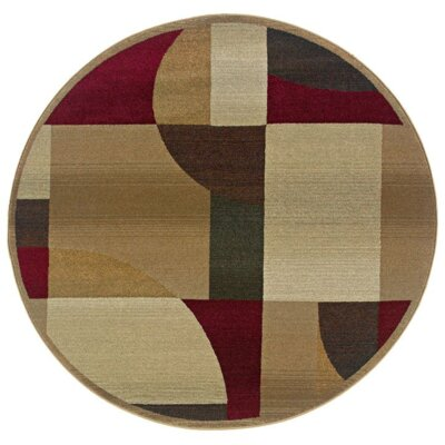 Albury Tan/Brown Area Rug Rug Size: Round 6'