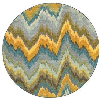Alcantara Chevron Waves Yellow/Blue Area Rug Rug Size: Round 710