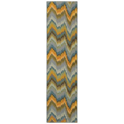 Alcantara Chevron Waves Yellow/Blue Area Rug Rug Size: Runner 27 x 10