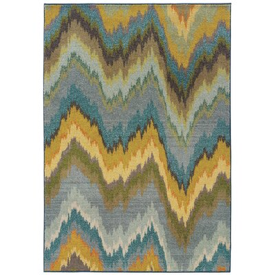 Alcantara Chevron Waves Yellow/Blue Area Rug Rug Size: 67 x 91