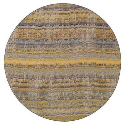 Alcaraz Distressed Stripe Yellow/Gray Area Rug Rug Size: Round 710
