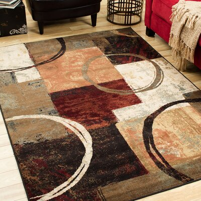 Alcazar Brown/Black Area Rug Rug Size: 67 x 96