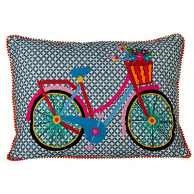 Elverton Embroidered Bicycle Cotton Lumbar Pillow