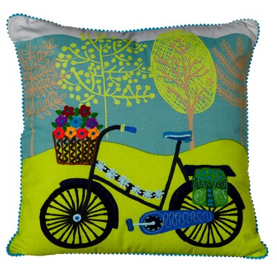 Elverton Cotton Embroidered Bicycle Throw Pillow