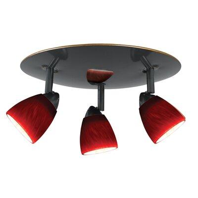 Alberto 3-Light Spotlight Shade Color: Brown Spot Glass