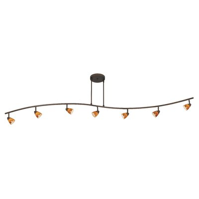 Alberto 7-Light Full Track Lighting Kit with Swirl Glass Shade Color: Amber, Finish: Rust