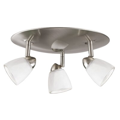 Alberto 3-Light Spotlight Finish: Brushed Steel, Shade Color: Orange Amber Swirl