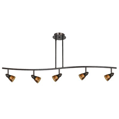 Serpentine 5-Light Intergrated Chip Track Light Shade Color: Rust Cone, Finish: Dark Bronze