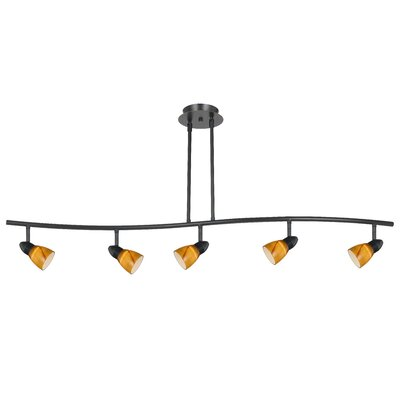 Serpentine 5-Light Intergrated Chip Track Light Finish: Rust, Shade Color: Amber Spot