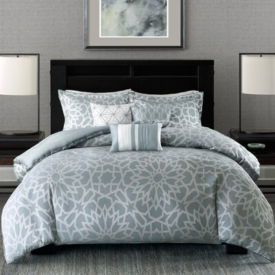 Kane 7 Piece Comforter Set Size: Queen, Color: Blue