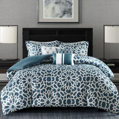Kane 7 Piece Comforter Set Size: Queen, Color: Teal