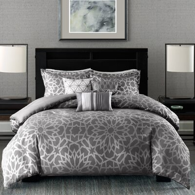 Kane 7 Piece Comforter Set Size: Queen, Color: Grey