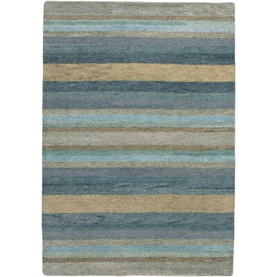 Alfano Hand-Knotted Sky Blue Area Rug Rug Size: 96 x 136