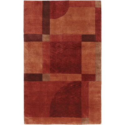 Westberg Hand-Knotted Aurora Red Area Rug Rug Size: Rectangle 56 x 8