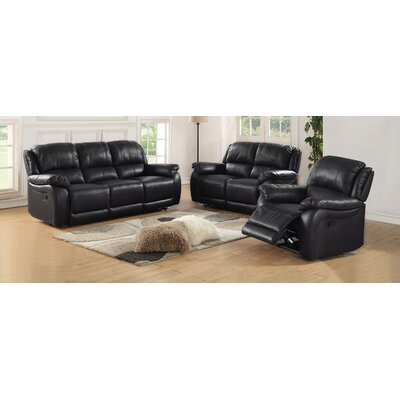 Juan 2 Piece Leather Living Room Set Upholstery: Black