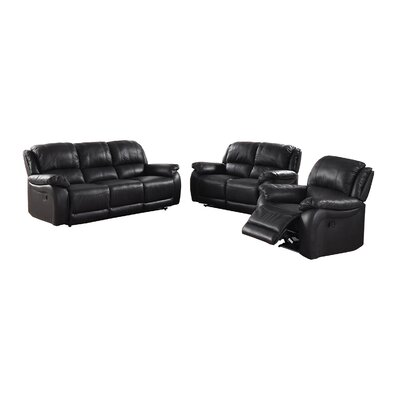 Juan Leather Reclining Loveseat Upholstery: Black