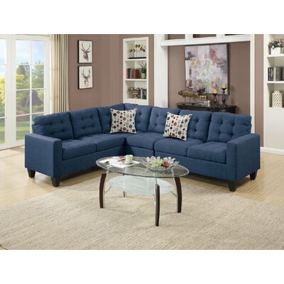 Newton St Loe Sectional Upholstery: Navy Blue