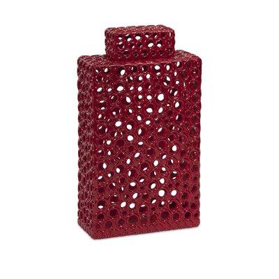 Bright Red Ceramic Cutwork Decorative Urn Size: 11.25