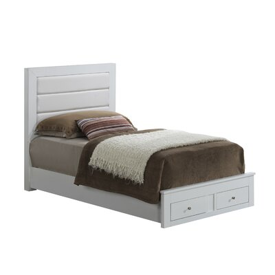 Brennen Upholstered Storage Platform Bed Size: Twin, Upholstery: White