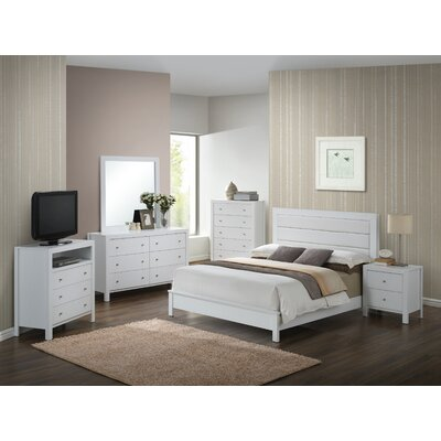 Brennen Upholstered Panel Bed Size: Queen, Color: White
