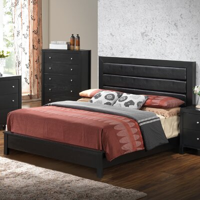 Brennen Upholstered Panel Bed Size: Queen, Color: Black