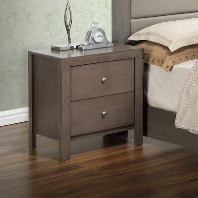 Brennen 2 Drawer Nightstand Color: Gray