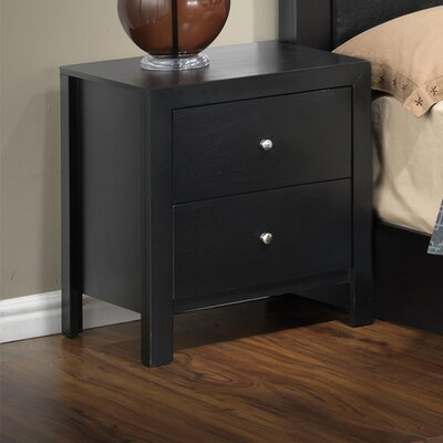 Brennen 2 Drawer Nightstand Finish: Black