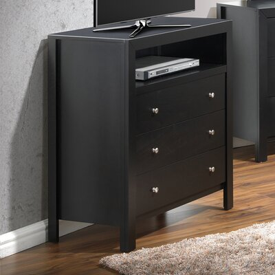Brennen 3 Drawer Media Chest Color: Black