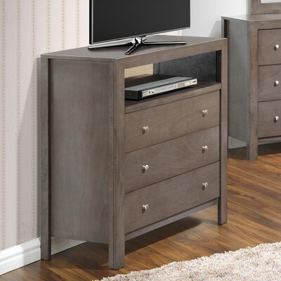 Brennen 3 Drawer Media Chest Color: Gray