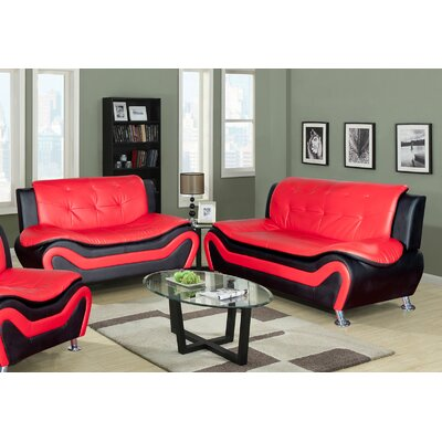 Algarve Leather Sofa and Loveseat Set Upholstery: Black / Red