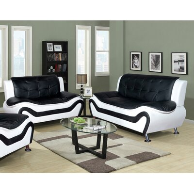 Algarve Leather Sofa and Loveseat Set Upholstery: Black / White
