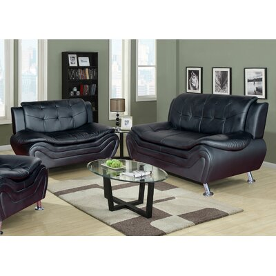 Crocker 2 Piece Leather Living Room Set Upholstery: Black
