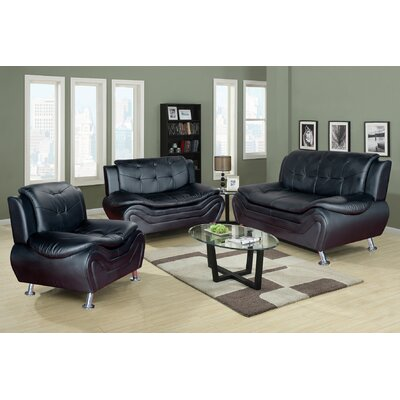 Algarve 3 Piece Leather Living Room Set Upholstery: Black