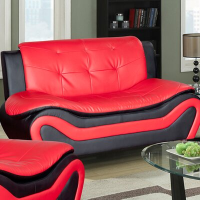 Algarve Loveseat Upholstery: Black / Red