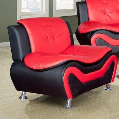 Algarve Slipper Chair Color: Black / Red