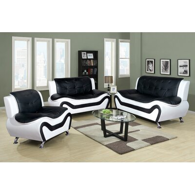 Algarve 3 Piece Leather Living Room Set Upholstery: Black / White