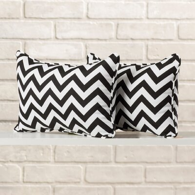 Felson Corded Indoor/Outdoor Lumbar Pillow Fabric: Chevron Black