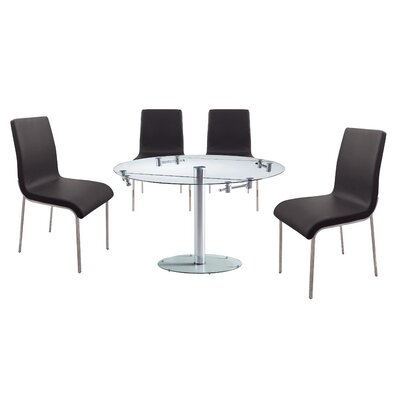 Savannah 5 Piece Dining Set Upholstery Color: Black