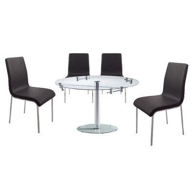 Savannah 5 Piece Dining Set Upholstery Color: Black