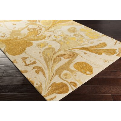 Asheville Beige/Gold Area Rug Rug Size: Rectangle 2' x 3'